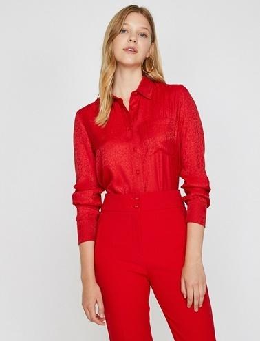 Koton Leopar Desenli Gömlek Kırmızı
